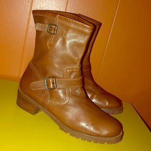 Michael Kors Brown Leather Shortie Harness Boots